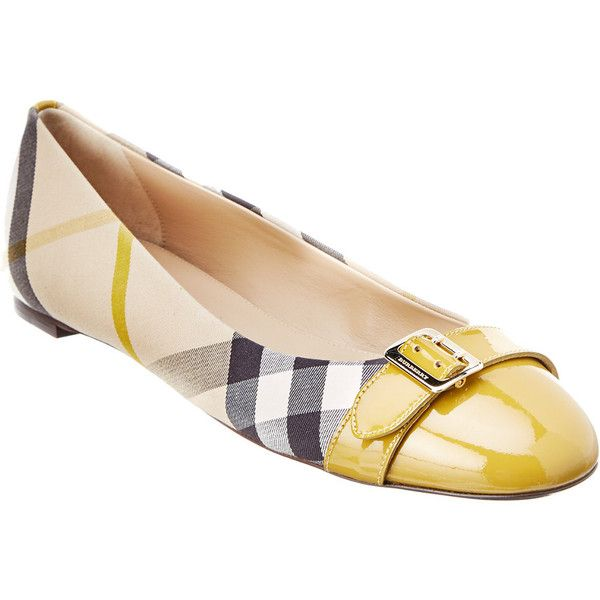 Burberry Buckle House Check And Patent Ballerina Flat ($310) ❤ liked on Polyvore featuring shoes, flats, yellow, yellow shoes, yellow patent leather shoes, patent leather flats, burberry shoes and patent ballet flats