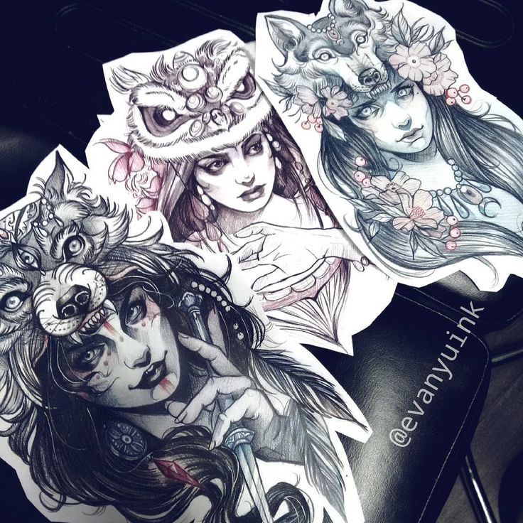 Tattoo Woman In Wolf: Pin De Tavo Illan En Ilustraciones
