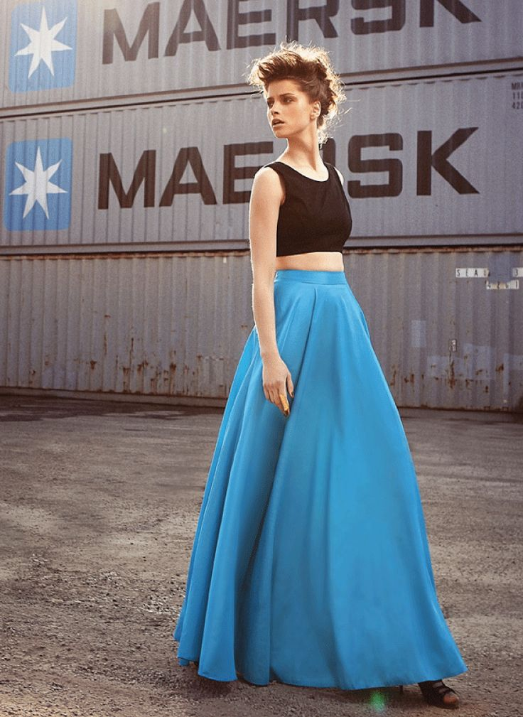 Amarisso New York  black cropped top with long turquoise taffeta skirt. New Spring/Summer 2014 Collection. Available in different combinations of colors.
