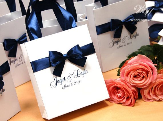 Navy Wedding Gift Bags with satin ribbon bow and by WeddingUkraine