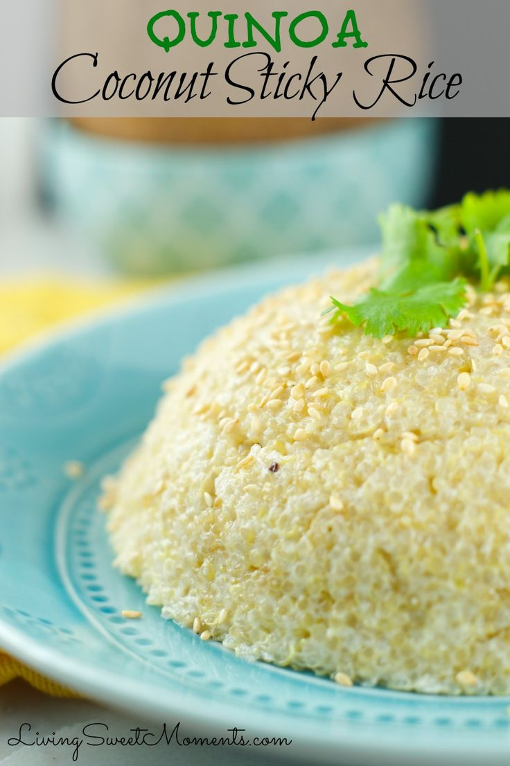 "Quinoa Coconut Sticky Rice - It's a delicious combination of Quinoa and Coconut with a ""sticky rice"" consistency. Delicious and perfect quick side dish to any meal."