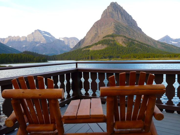 The deck of Many Glacier Hotel offers a world-class view of Glacier National Park.