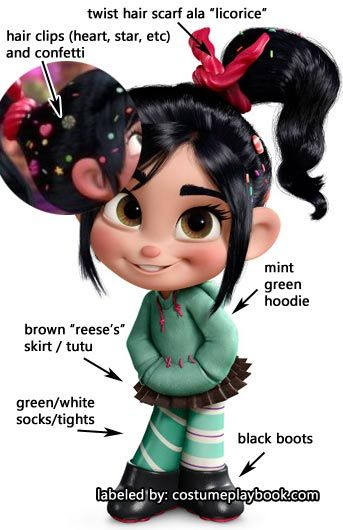 Cute costume idea! Dress up as Vanellope from Disney's Wreck it Ralph! Costume Guide: http://costumeplaybook.com/movies/wreck-it-ralph/2931-vanellope-costume-guide/