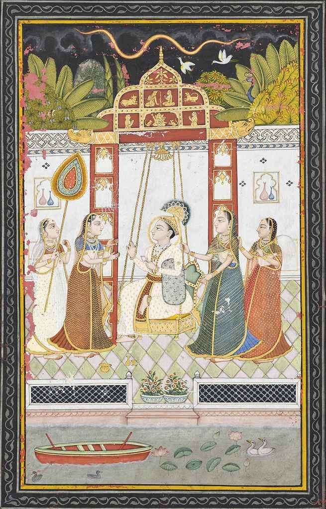 A Lord On A Swing Enjoying The Company Of Ladies. Probably Bundi, North India, Late 18th Century