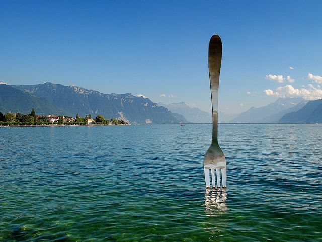 "This giant fork (over 500 kg - 1100 pounds ) is planted in the Lake Geneva in front of the ""Alimentarium "" a food museum in VEVEY -  Switzerland bon appétit ! - by mujepa, via Flickr"