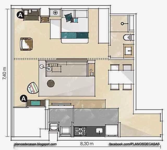 Plano para departamento de soltero o soltera planos de for Diseno de apartamento de soltero