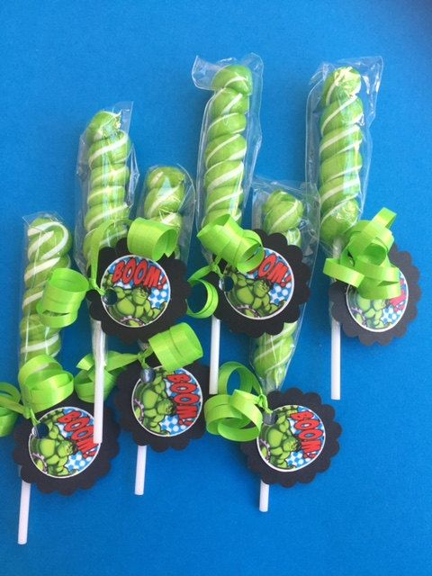"Marvel-Avenger ""The Hulk"" set of 6 Green Lollipops with tags. www.RockinPartyTreats.Etsy.com"