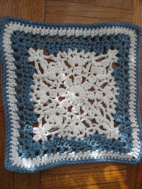 Free Crochet Snowflake Potholder Pattern : Crocheted Afghan Snowflake Square....oooohhhhh, SNOWFLAKE ...