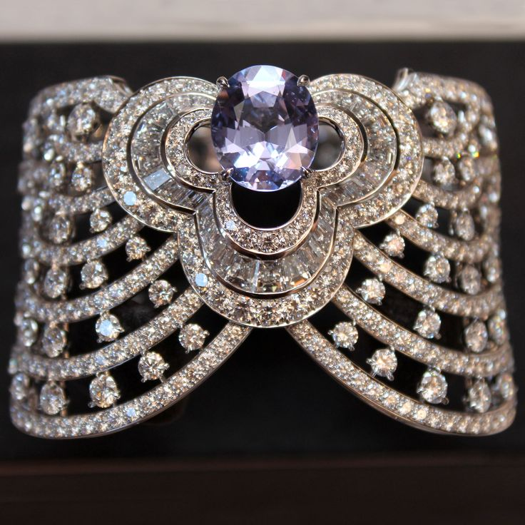 Louis Vuitton lavender spinel and diamond cuff from the Blossom collection.