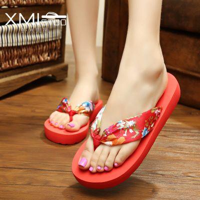 Bohemia Womens Summer Casual Flip Flops Shoes Beach Slippers W/ Silk  Shoelace