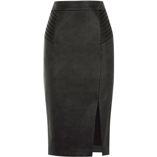 PINTUCK FAUX LEATHER SKIRT (490 SEK) ❤ liked on Polyvore featuring skirts