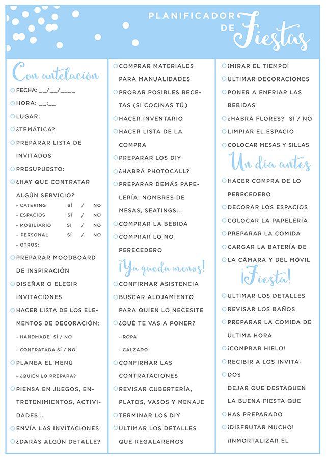 imprimible: planificador de fiestas | milowcostblog