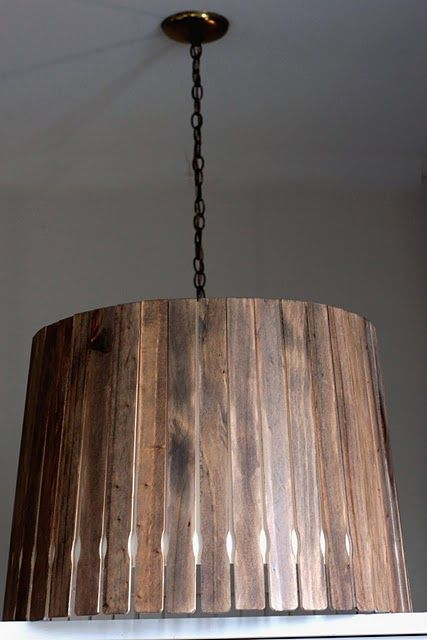 Paint stirrers (free!) stained and placed around lamp shade.
