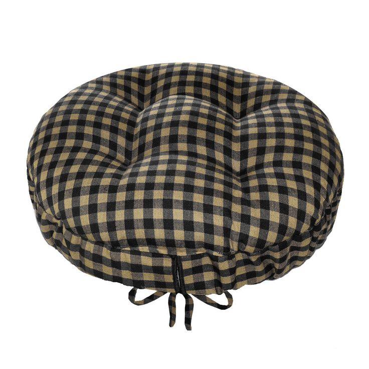Checkers Black Tan Bar Stool Cover with Latex Foam Bar Stool Cushion Adjustable Drawstring