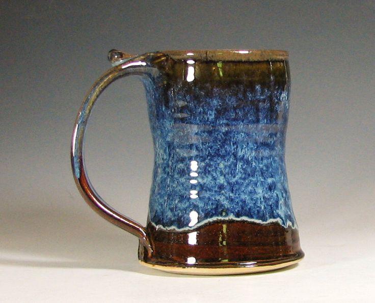 beer tankard ceramic coffee mug stein cup glazed in brown blue handmade stoneware by hughes pottery