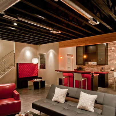 Exposed Ceilings Unfinished Basement Ceiling And Basement Ideas