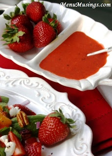 Strawberry Vinaigrette - this made-from-scratch vinaigrette is fabulous on your fresh spinach salad, and comes together in mere minutes in the food processor!  Step-by-step photos.