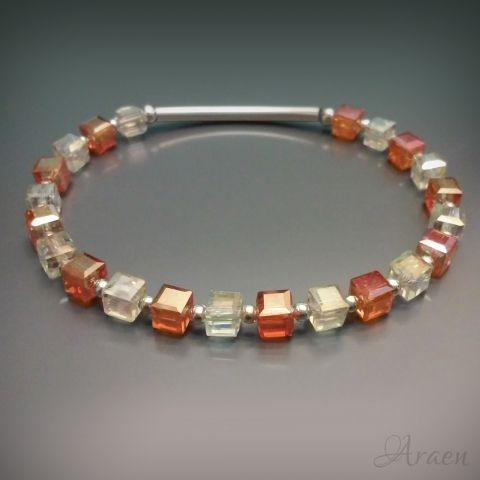 Orange and topaz colored sparkling crystal cubes bracelet