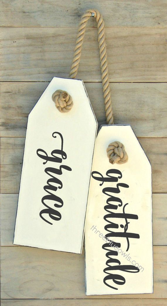 Grace and gratitude are words to live by and you can celebrate them with our set of hang tag style signs. Each sign measures approximately 7.25