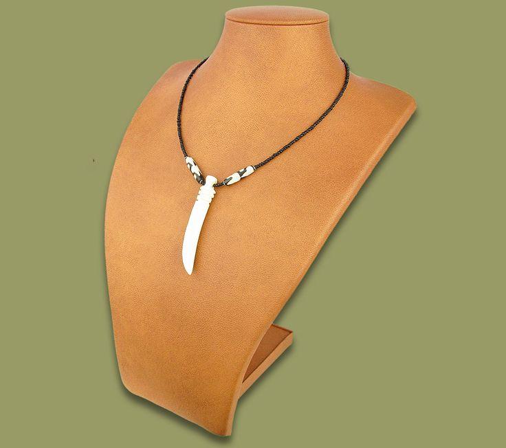 African Bone Necklace Tusk White