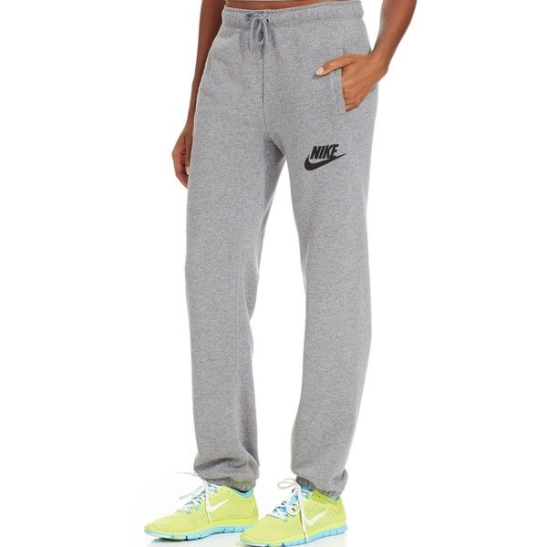 Nike Rally Fleece Sweatpants ($55) ❤ liked on Polyvore featuring activewear, activewear pants, white sweatpants, nike sportswear, fleece sweat pants, black jogger sweatpants and white jogger sweatpants