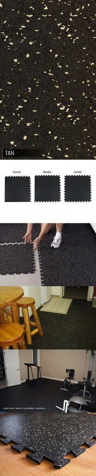 IncStores Tight-Lock Rubber Gym Tiles - (6ft x 6ft Area, Tan) Gym Mats Ideal For Equipment Mats, Gym Flooring, Exercise Mats and Home Gym Rubber Flooring