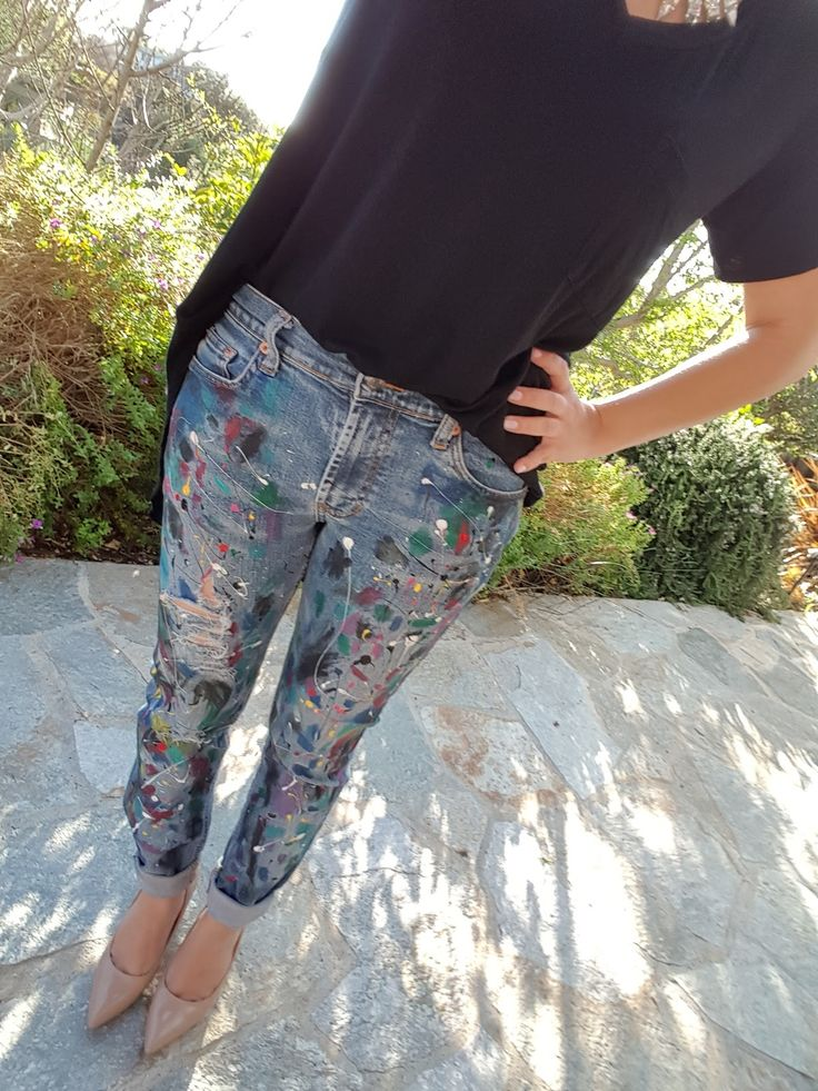 Just made these in 30 min! Anything But Boring: Fashion Experiment: Paint Splatter Jeans you guyz!
