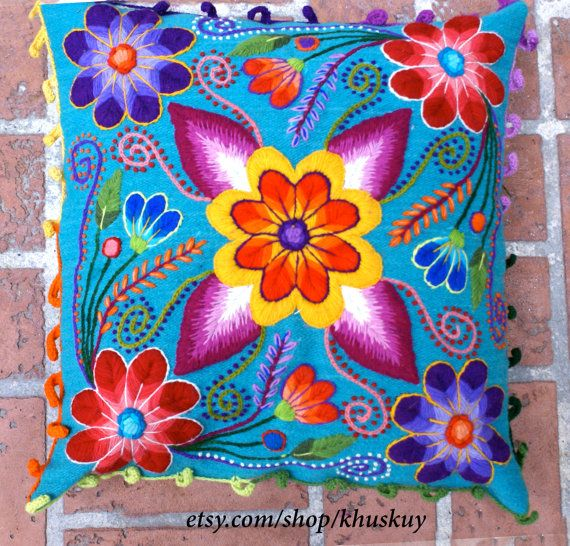 Pillow cushion covers Hand embroidered flowers Sheep & alpaca wool 16 x 16…