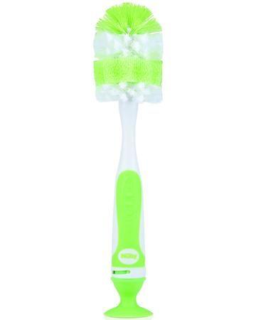 Nuby с ершиком для сосок на присоске зеленый  — 540р. ---------- Ершик для бутылочек Nuby с ершиком для сосок на присоске зеленый позволяет бережно и тщательно очистить детские бутылочки и соски. Изделие состоит из двух нейлоновых щеточек: щетка для сосок встроена в рукоятку ершика для бутылочек. Щетки оснащены удобным...