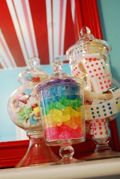 These colorful candy jars are the perfect accessories for for Candyland bedroom ideas