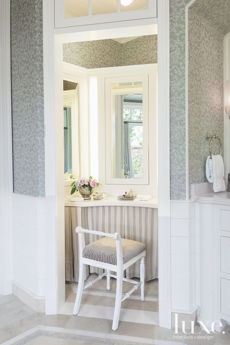 White and Gray Traditional Bathroom