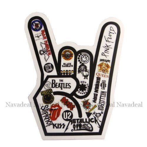 Nava rock gesture u2 the beatles band luggage skateboard laptop car bumper stickeramazon