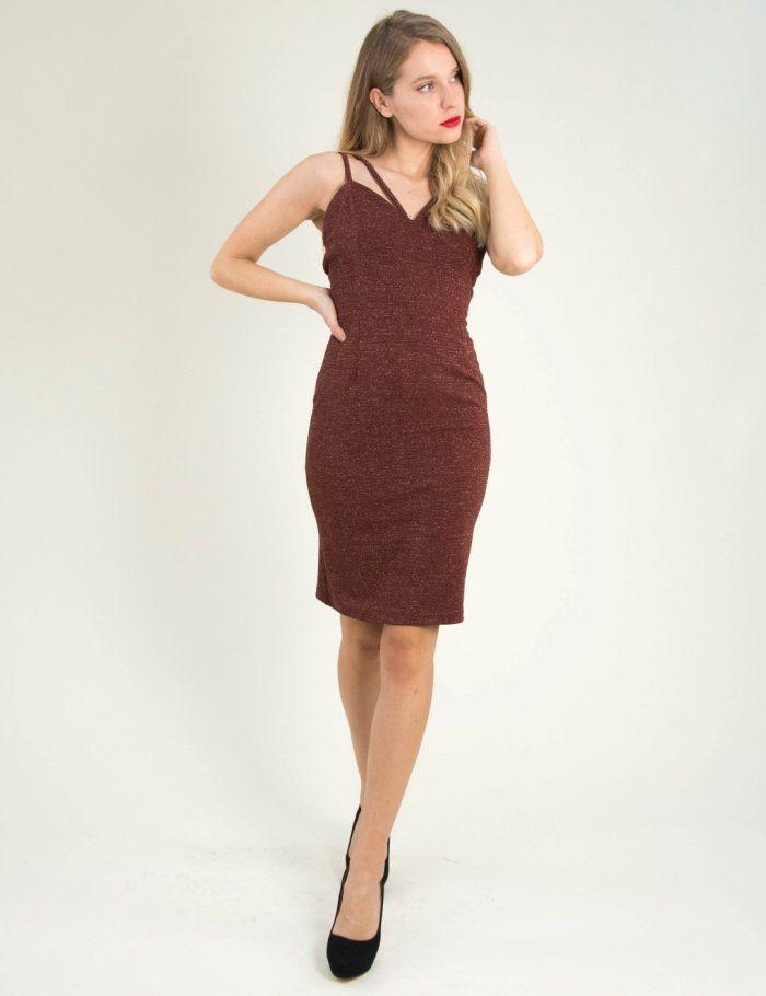 Γυναικείο καφέ εφαρμοστό φόρεμα Lurex ραντάκι 8307174L  f5ad2064251