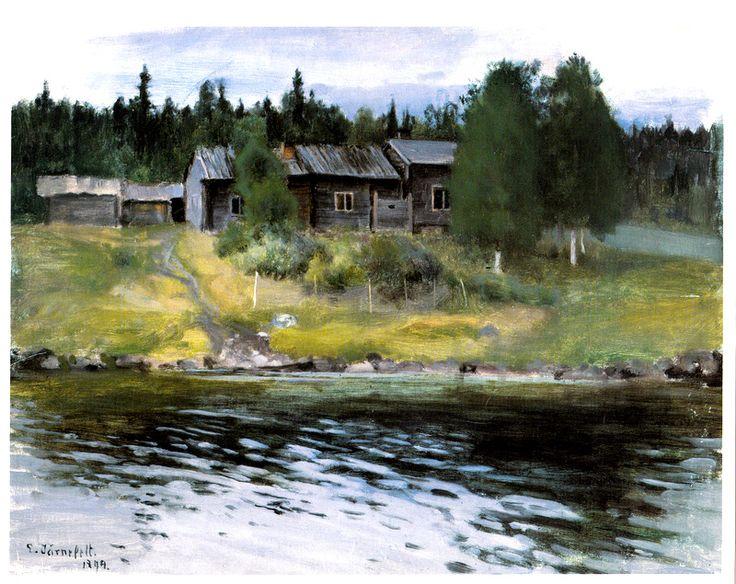 Kuva albumissa EERO JÄRNEFELT - Google Kuvat.  Rantamaisema 1894, Hämeenlinnan taidemuseo, iso kuva (A4).