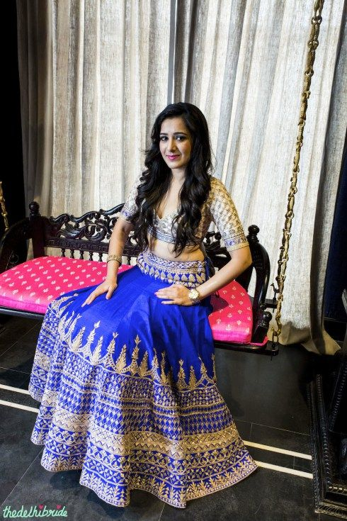 royal blue lehenga white blouse jaal work by Anita Dongre