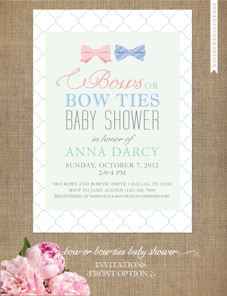 Exceptional Bows Or Bow Ties Baby Shower Invitations   Gender Neutral   Boy Or Girl