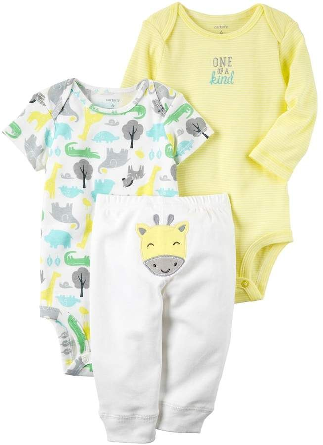 Baby Carter S Animal Bodysuit Embroidered Bodysuit Giraffe Pants Set Carters Baby Clothes Baby Boy Outfits Carters Baby Boys