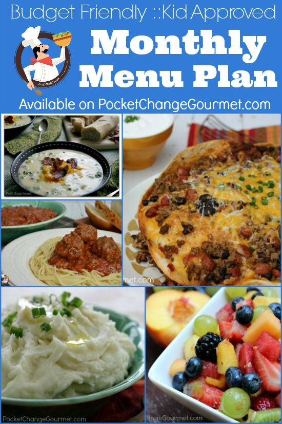 Monthly Menu Plan | Budget Friendly :: Kid Approved Monthly Menu for January 2014 | Available on PocketChangeGourmet.com