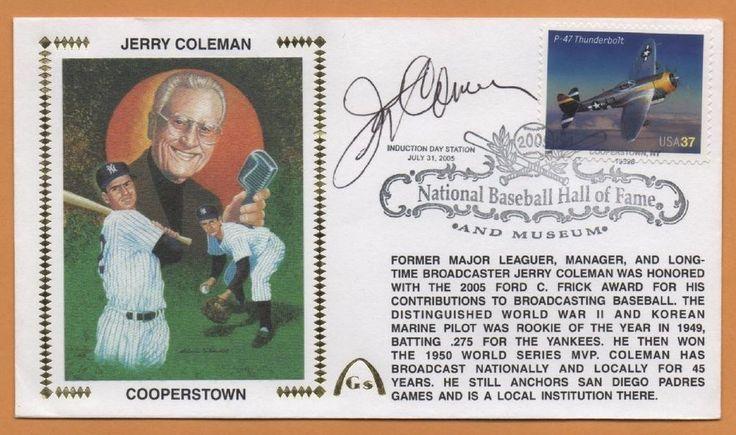 Jerry Coleman BLEM Hall Of Fame Autographed Gateway Stamp Envelope - Yankees