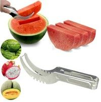 Wish | Watermelon Cutter Knife Cucumis Melon Cutter Chopper Fruit Salad Cucumber Vegetable Fruit Slicers Kitchen Cooking Tools Gadgets (Size: Pack of 1, Color: Silver)