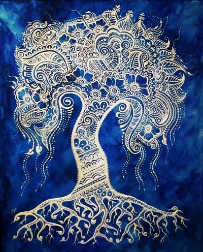 Blues Tree of Life ~ Henna Mehndi Print