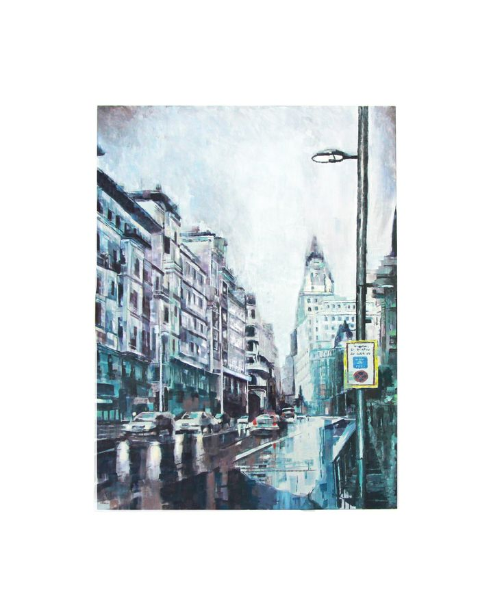 Rainy days. Madrid. Gran Vía. Oil on canvas
