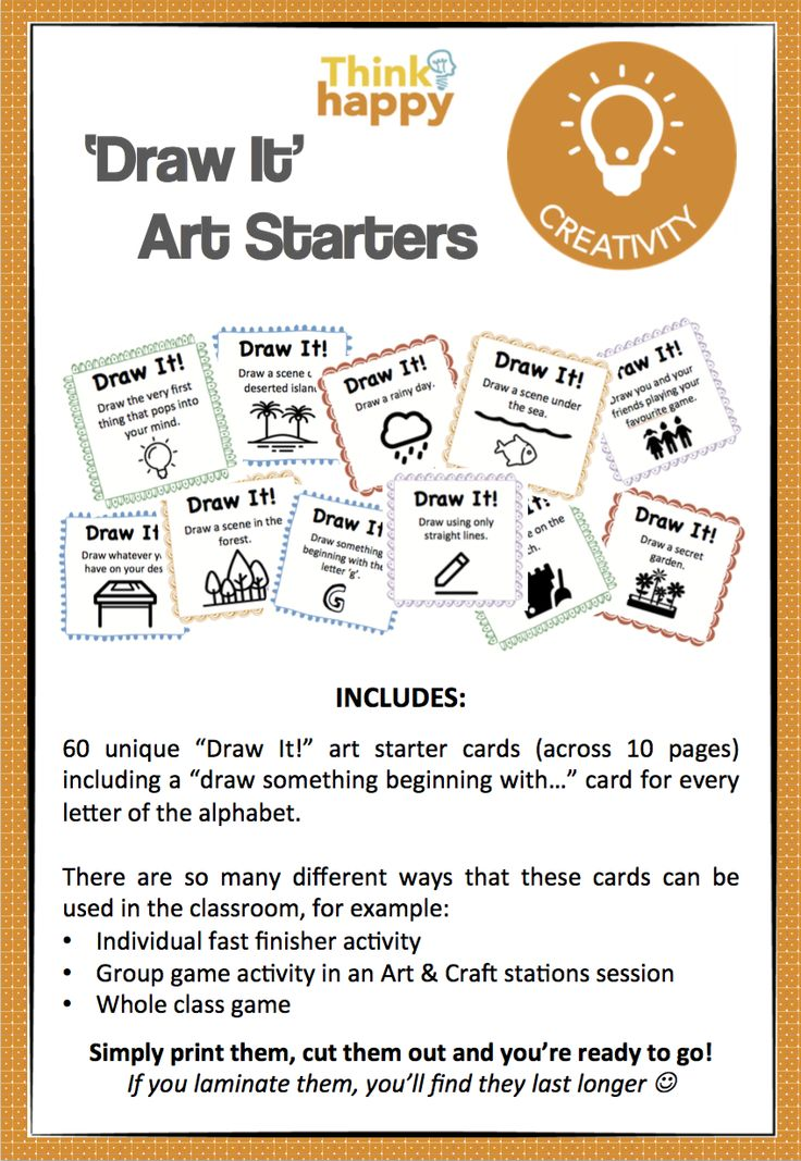 Creativity is such an important skill to harness, but sometimes students need a little inspiration to get started. In this resource you will find 10 pages of drawing-based 'art starters' to inspire your students to get creative with their drawing. 12 pages for $3.90! http://designedbyteachers.com.au/marketplace/drawing-prompts-art-starters/