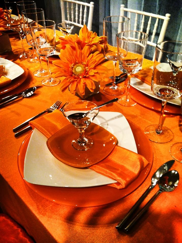 17 best images about church rainbow tea table ideas on for Orange centerpieces for tables
