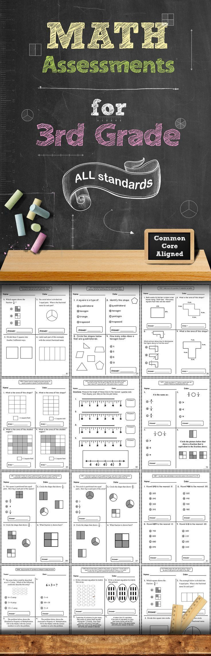 This 60+ page assessment bundle contains quick, 1 page math assessments for every 3rd Grade Common Core Math Standard. There are 2 assessments included for each standard. These assessments packs are also available for grades K, 1, 2, 4, and 5! (scheduled