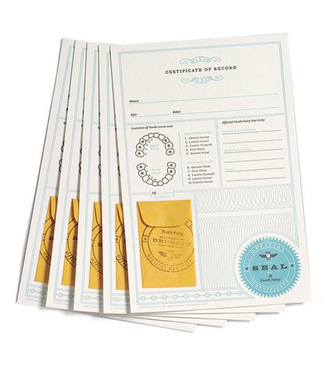 DIY: Certificates of Record for filing with your local Tooth Fairy. There's space to record your child's Name, age, which tooth lost, and compensation details. You'll be glad to have these keepsakes. via www.chasing-fireflies.com