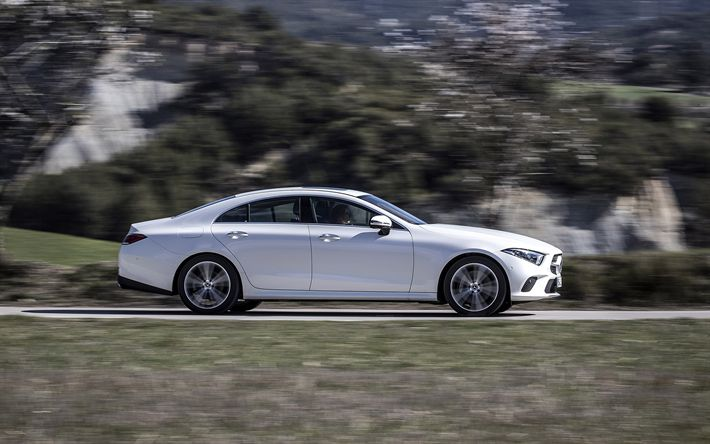 Download wallpapers Mercedes-Benz CLS-Class, 2019, 4k, exterior, new white CLS, side view, sports sedan, Mercedes