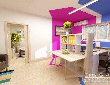 Яркий офис для четырех человек. Дизайнер: Ксения Демина. #дизайнинтерьера #igenplan #дизайнофиса  #интерьерофиса