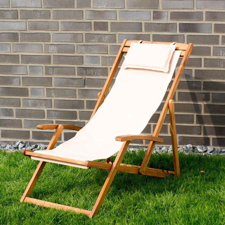 Liegestuhl-Relaxliege-Garten-Sonnenliege-Strandliege-Holz-Stoff-4-versch-Farben