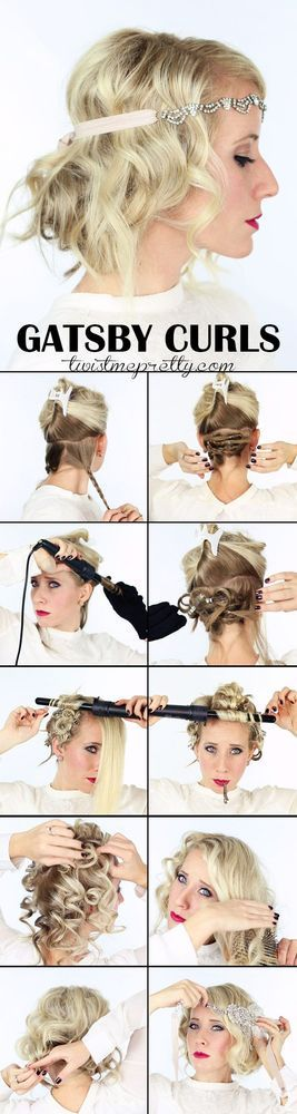 The perfect Gatsby Curls for your 1920 flapper girl costume! Come checkout the vintage updo and watch the easy to follow video tutorial! | Twist Me Pretty